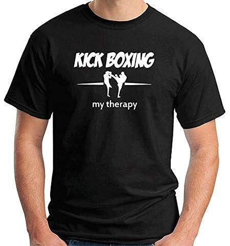T-Shirtshock - T-shirt TAM0090 kick boxing my therapy dark tshirt, Taille M