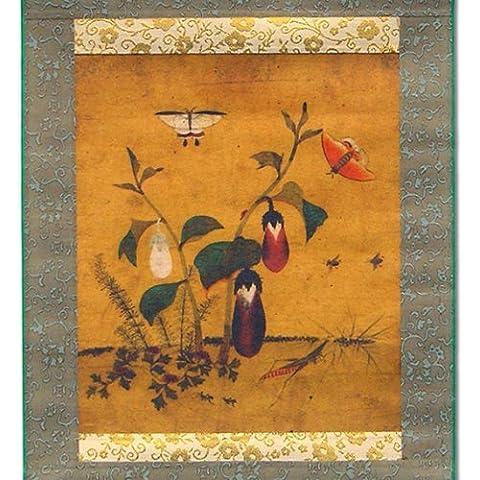 Berenjena y Hierba Insecto Seda desplazamiento Hanging Wall Art Decor de cocina de interior hecho a mano Asia Oriental Impresión Coreana Folk pintura