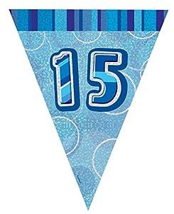 Unique Party Banderines de 15 cumpleaños Color azul Edad (92155