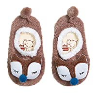 Bigood Baby Toddler Kids Solid Animal Warm Cotton Floor Sock Gifts Brown Fox M