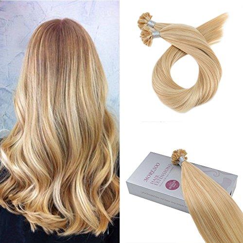Moresoo U Tip Tressen Echthaar Extensions Highlight Color Blond #16/22 Brasilianisch Remy Dritto Haarverlangerung Echthaar Extensions Bondings 24zoll/60cm