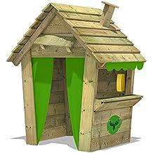 FATMOOSE Casa de juegos PandaPark Pro XXL parque jardín parque infantil de madera con chimenea,