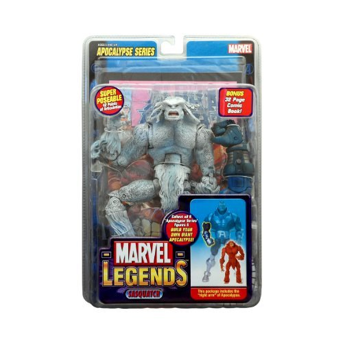 Marvel Legends Year 2005 Apocalypse Series 9 Inch Tall Action Figure - Variant White SASQUATCH with Super Poseable 42 Points of Articulation, Right Arm of Apocalypse Plus Bonus 32 Page Comic -