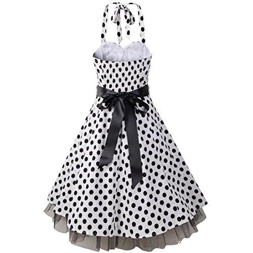 partiss femmes Audrey Hepburn 60's Rétro Vintage Robe de soirée robe à pois Taille Jupe Swing à bulles White Dots(Black Belt)