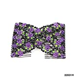 Haarspange/Haarkamm nach afrikanischer Art mit Blumenmuster (Lila) 024-00152