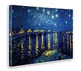 Giallo Bus Quadro Stampa Su Tela Pittorica, Dipinto Vincent Van Gogh, Notte Stellata Sul Rodano