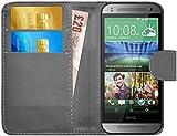 G-Shield HTC One Mini 2 Hülle mit Kartenfach Ledertasche Klapphülle PU Leder Schutzhülle Tasche Flip Case Cover Etui Handyhülle mit Displayschutzfolie und Stylus - Grau
