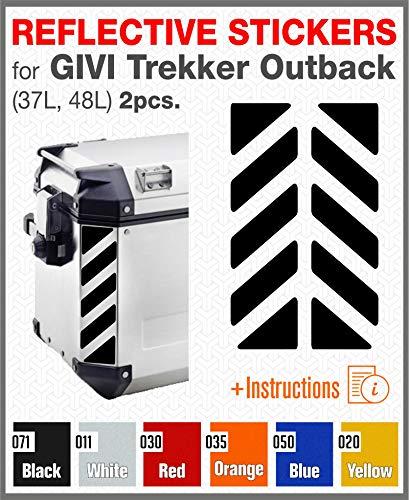 2pcs RIFRANGENTI ADESIVI per VALIGIE LATERALI GIVI Trekker Outback 37L 48L (Black 071)