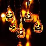 Qedertek Halloween Deko, Kürbis Lichterkette Batterie Betrieben 2.9 Meter 20 LED Beleuchtung für Allerheiligen, Halloween Party, Garten, Außen & Innen, Festen (Warmweiß)