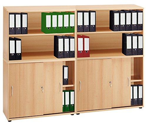 VCM 4-tlg Aktenregal Set Büro Schrank Regal Büroschrank Aktenschrank Sideboard Omegos 555 Buche