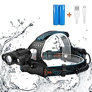 LED Headlamp,SGODDE 4 Modes 5000 Lumens Headlight,USB Rechargeable Waterproof Flashlight, 3 LED Zoomable Head Torchlight for Outdoor Camping Hunting Fishing Running- Batteries&USB Cable Included