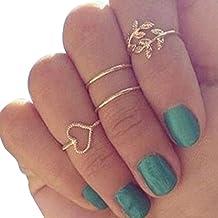 Malloom® venta caliente moda 1 conjunto de 4 anillos Chapado en oro articulación nudillo Anillo de uñas