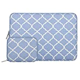 MOSISO Tasche Sleeve Hülle für 13-13,3 Zoll MacBook Pro, MacBook Air, Notebook Quatrefoil Stil Canvas Gewebe Laptophülle Schutzhülle Laptoptasche Notebooktasche mit Kleinen Fall, Serenity Blau