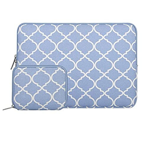 MOSISO Quatrefoil Style Canvas Fabric Laptop Sleeve Case Cover for 15-15.6 Inch MacBook Pro, Notebook Computer with a Small Case, Serenity