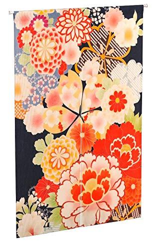 Mr Fantasy lino y algodón Noren japonés puerta cortina tapiz habitación separador para cocina Hogar Decoración, Flower 2, 85*120cm