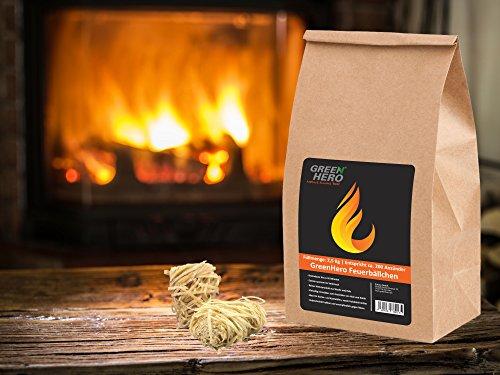 GreenHero Feuerbällchen | 2,5 Kg entspricht 200 Anzündern | Reines Naturprodukt aus Wachs und Holz | Bioanzünder Ofenanzünder, Kamin- und Grillanzünder