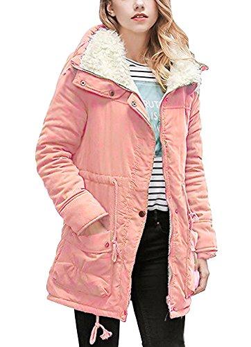 Minetom cappotto invernale da donna giacca trench lungo parka con cappuccio imbottito giubbino sport felpa giacche con coulisse corallo it 50