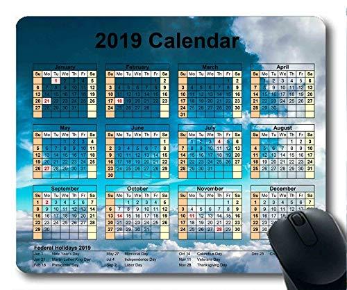 Yanteng Calendario 2019 con Cojines Importantes para Las Fiestas, Mous