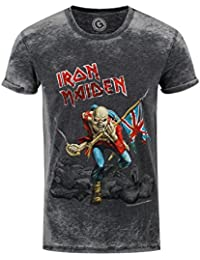 Official T Shirt IRON MAIDEN Vintage Logo Trooper Burnout XL
