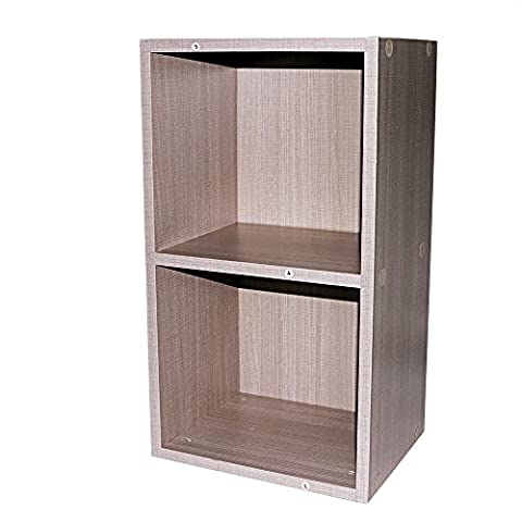 2, 3, 4 Tier Wooden Bookcase Stand Cube Storage Unit Bookshelf CD Display Shelving Unit free combination(2 Tier, Antique