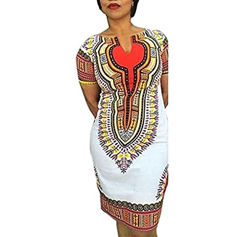 FEITONG Nouveau Femmes Summer Fashion Casual Africaine Imprimer traditionnel Party col V Profond Robes (XL, Blanc)