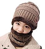 DELEY Unisex Bambini Cappello a Maglia Lana Cappellino con Sciarpa Cerchio Sci Outdoor Sport Invernale Natale Regalo Set Khaki