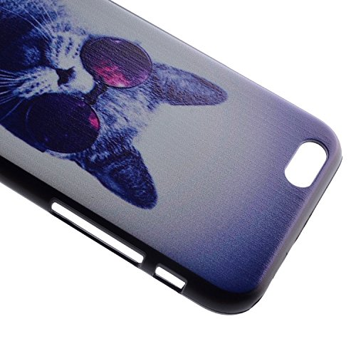 Ukayfe Ultra Slim Hard Plastica Protettivo Skin Custodia Stilosa custodia di design Protettiva Shell Case Cover Per Apple iphone 6/6S (4.7 pollice) Con free Stilo Penna - Black Mouth-we are all mad he Gatto con gli occhiali