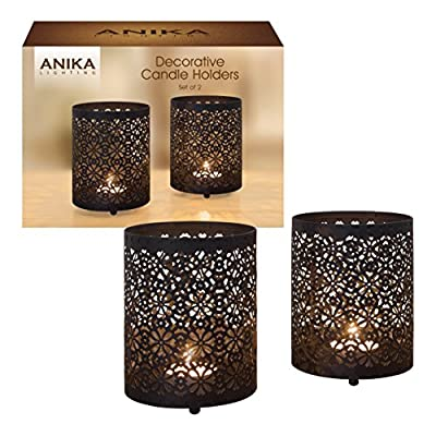 Anika Pack of 2 Decorative Black Metal Geometric Pattern Candle Tealight Holders, Metal, , 2-Piece by Benross