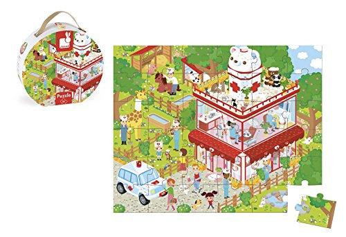 Janod - Hospital veterinario, maletín redondo, puzzle, 36 piezas (Juratoys J02776)