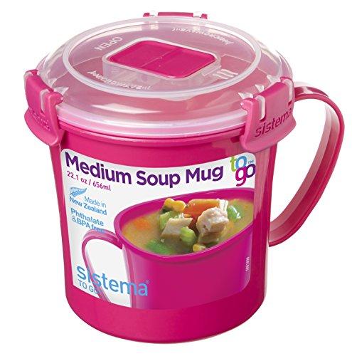 Sistema SI21107-3 Micro-ondes Tasse à soupe Plastique Rose 14,2 x 11,4 x 11,9 cm 656 ml