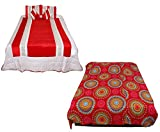 Indiweaves Luxury Bedding Set of Duvet Bed Cover Cum Bed sheet 8 Pieces Combo With Beautifully Crafted Velvet Patch Work. 1 Duvet Bed Cover Cum Bed Sheet, 1 Micro Fibre Double Bed Dohars, 2 Pillow Covers, 2 Imported Cushions, 2 Cushion Covers (Wedding Set)