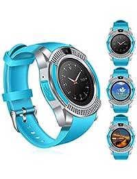 Smartwatch, Reloj Inteligente Android con Ranura para Tarjeta SIM, Reloj Inteligente para Deporte, Reloj Iinteligente Hombre Mujer niños, Reloj de Fitness (Azul)