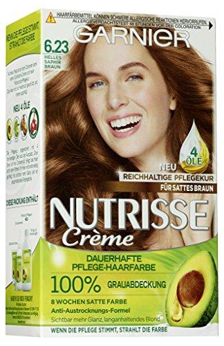Garnier Nutrisse Creme Coloration Helles Saphir Braun 6.23 / Färbung für Haare für permanente Haarfarbe (mit 3 nährenden Ölen) - 3 x 1 Stück
