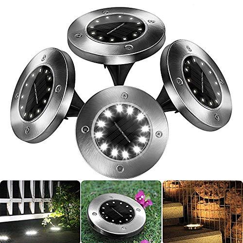 FYLINA Solarleuchten Garten-4Stück 12 LEDs Solar Bodenleuchte Solar Gartenleuchten Helles Weiss Solarlampen Wasserdichte Bodenstrahler Licht (Weiß)