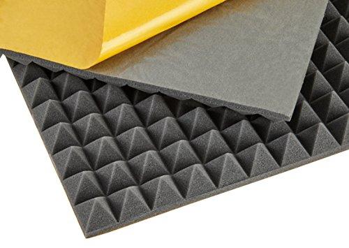 Preisvergleich Produktbild baytronic Dämmschaummmatte,  Akustikschaumstoff,  Noppenschaum,  Pyramidenstruktur,  selbstklebend (500 x 500 x 10 mm / 40 mm)