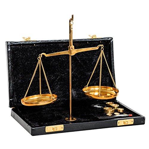 Waage Feinwaage Goldwaage im Etui Messing Apothekerwaage Antik-Stil - 21cm