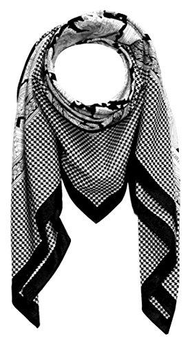 LORENZO CANA High End quadratisches XL Luxus Tuch Baumwolle kombiniert mit Seide 110 x 110 cm Naturfaser Marken Schaltuch Halstuch Hahnentritt Paisley (Hahnentritt-schal Aus Seide)