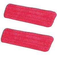Hosaire 2X Gamuza lavable de microfibra, repuesto para escoba, Spray Mop by Tech Star, con superficie superior compatible – Color rojo(42*13cm)