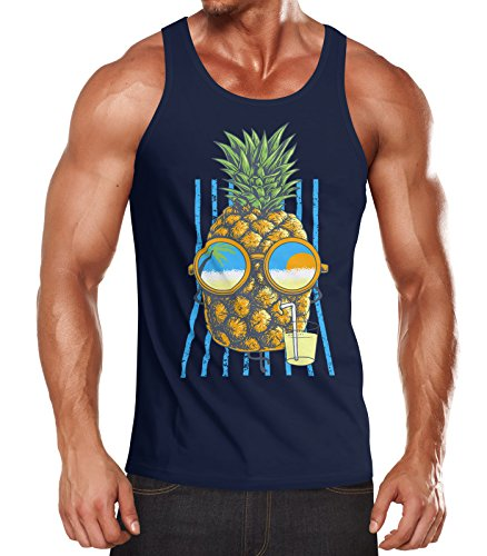 Neverless Herren Tank Top Chilling Ananas Pinapple Sommer Beach Party Slim Fit Tanktop Navy S