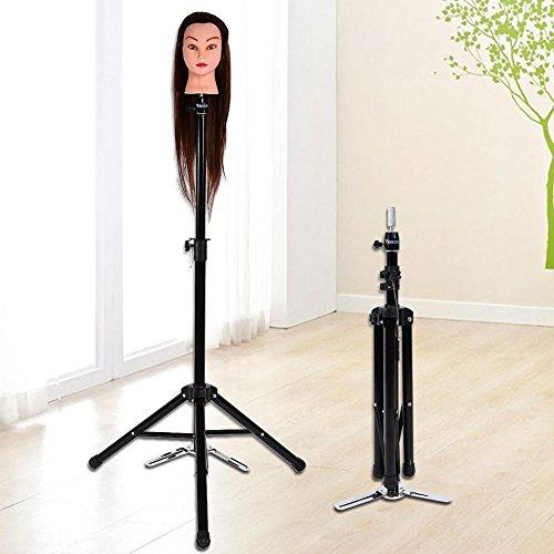 Soporte de Exhibición de la Peluca Robusto Trípode de la Cabeza de Peluca para el Entrenamiento del Peinado del Cabello Peluquería Ajustable
