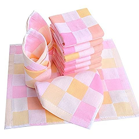 JISEN® Baby Newborn Cute Pink Square Muslin Cotton Baby Small Towels,Baby Washcloths,Baby Towel Wipes,Premium Reusable Wipes,Extra Soft For Sensitive Skin, Baby Diaper,Baby Shower Gifts,10
