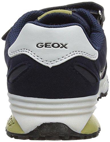 Geox J Bernie A, Scarpe da Ginnastica Basse Bambino Blu (Navy/pistachio)