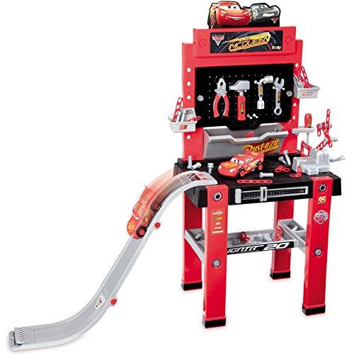Unbekannt Große Werkbank Cars 3 mit Sprungschanze und viel Zubehör robuste Werkstatt 111 x 34 110 cm • Spielzeug Disney Cars3 Lightning McQueen Kinder Werkzeug Kinderwerkbank
