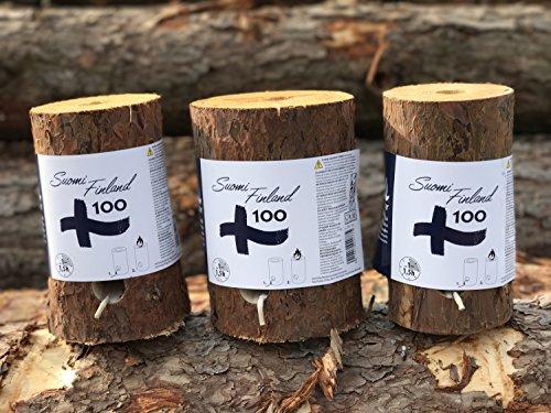 *3er Set Finnenfeuer | Schwedenfeuer | Baumstammfackel | Gartenfackel | inkl. Anzünddocht | Ø 9 -14cm / Höhe 20cm | Edition 100 Jahre Finnland*