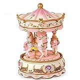 Music Box Princess box Carrousel carillon resina design per gli amanti compleanno regalo San Valentino (rosa)