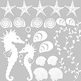 GRAZDesign 300168_57x57_WT010 Wandtattoo Muscheln für Bad | Selbstklebende Klebe-Folie für Wände - Fliesen - Spiegel | Wand-Aufkleber als Set mit 20 unterschiedlichen Seesternen -Seepferdchen (57x57cm // 010 weiss)