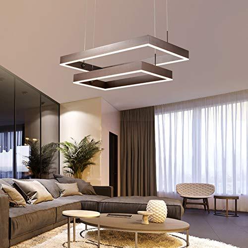 Dimmbar Pendelleuchte LED Deckenlampe Küchenlampe Hängend Esstischlampe Modern Rechteckig Hängelampe Aluminium und Acryl Deckenleuchte Wohnzimmerlampe Höhenverstellbar Esszimmerlampe 84 W