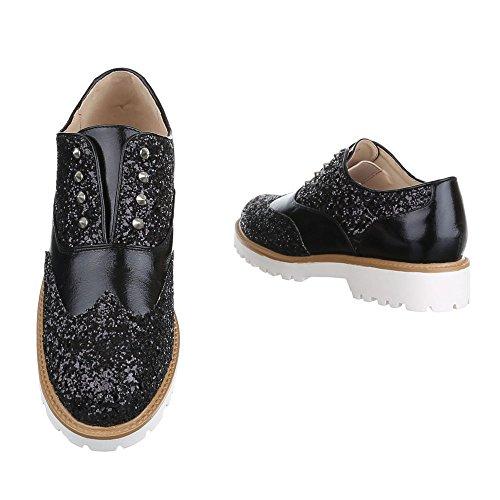 Ital-Design Slipper Damen Schuhe Low-Top Blockabsatz Moderne Halbschuhe Schwarz
