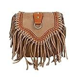 Schultertasche, Umhängetasche, Troddelbeutel,Fashion Fransen Damentasche Beutel Taschen PU Wildleder mit Reissverschluss