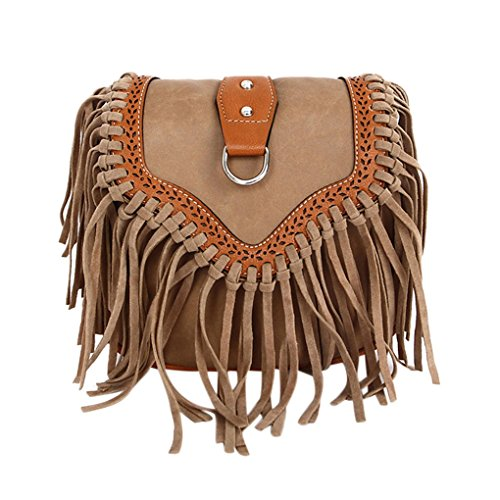 Schultertasche, Umhängetasche, Troddelbeutel,Fashion Fransen Damentasche Beutel Taschen PU Wildleder mit Reissverschluss -